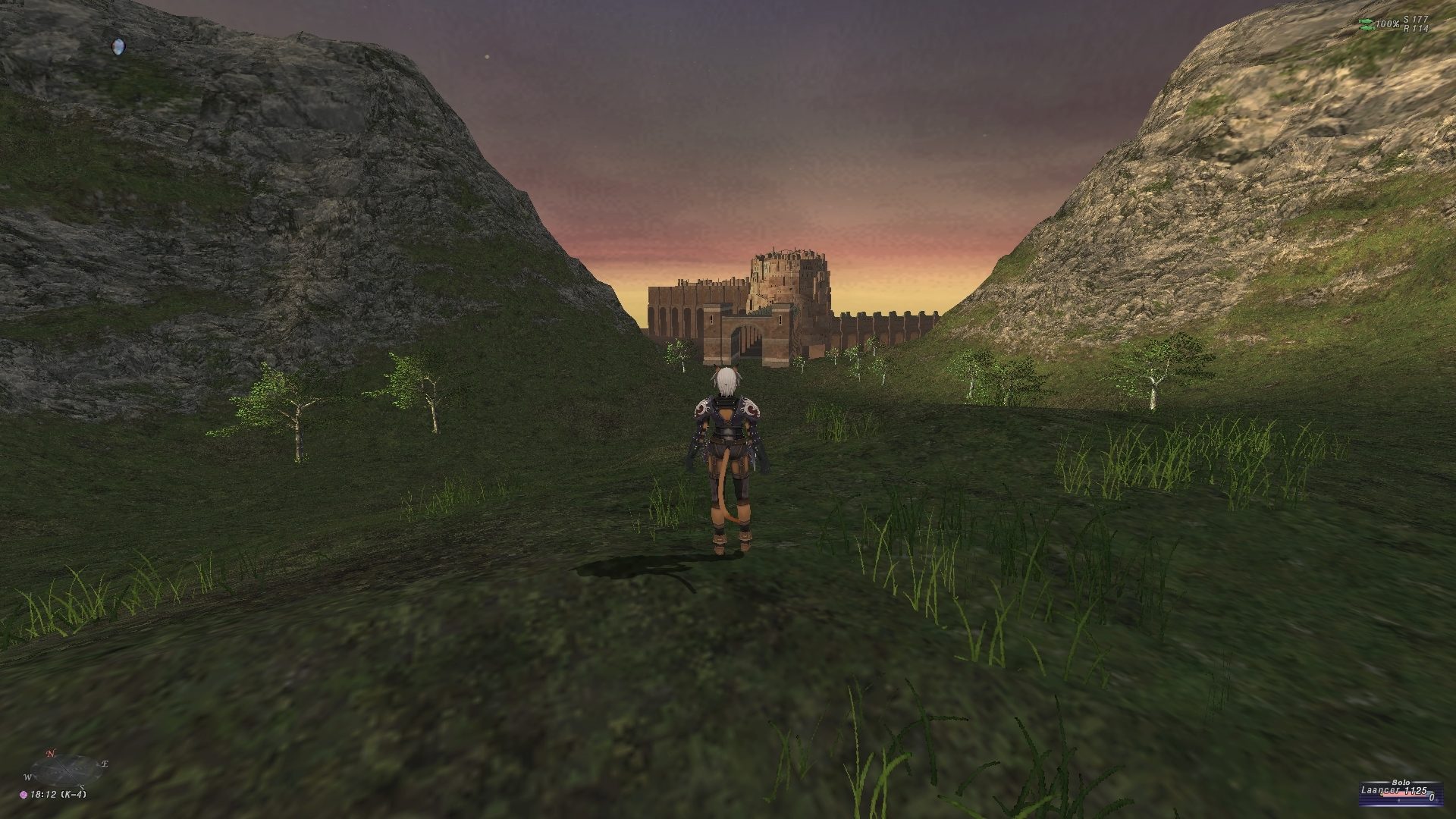 videogame avatar stands with back to camera in front of hills and castle in background.