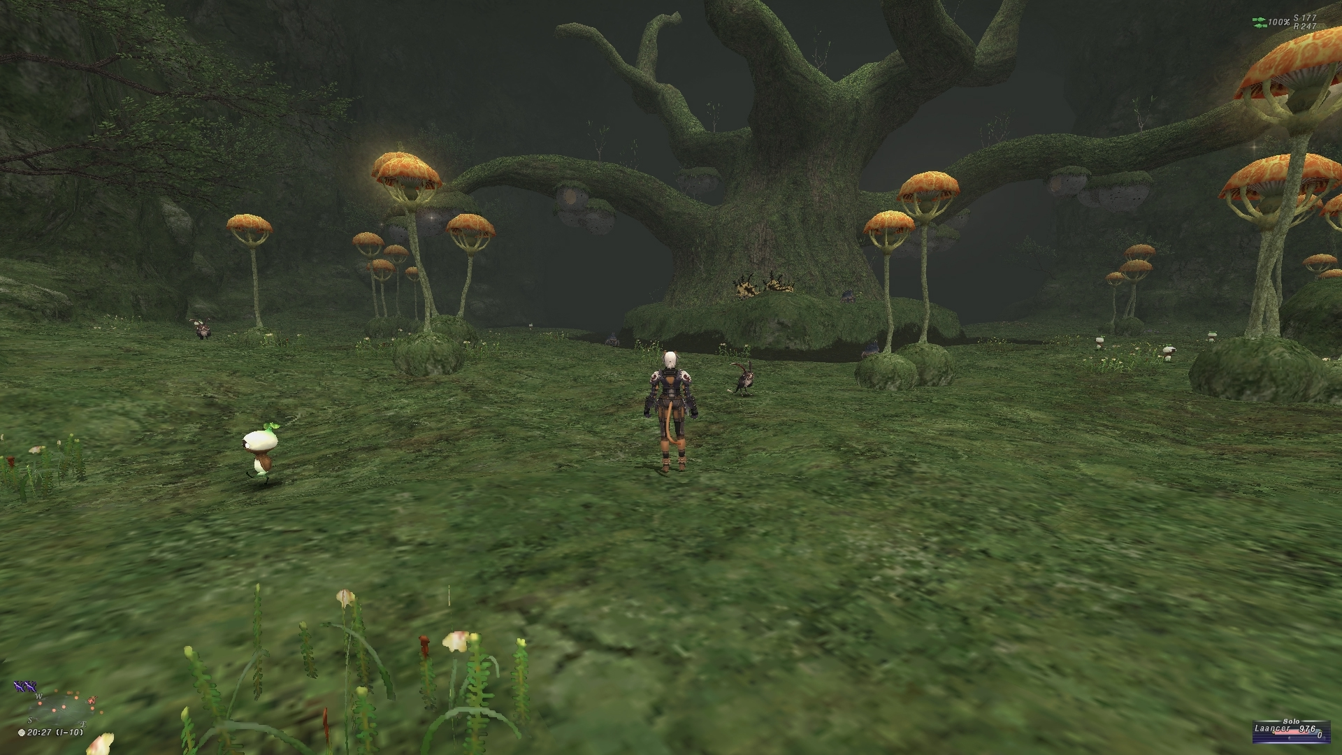 videogame avatar stands with back to camera in front of large trees and mushrooms.