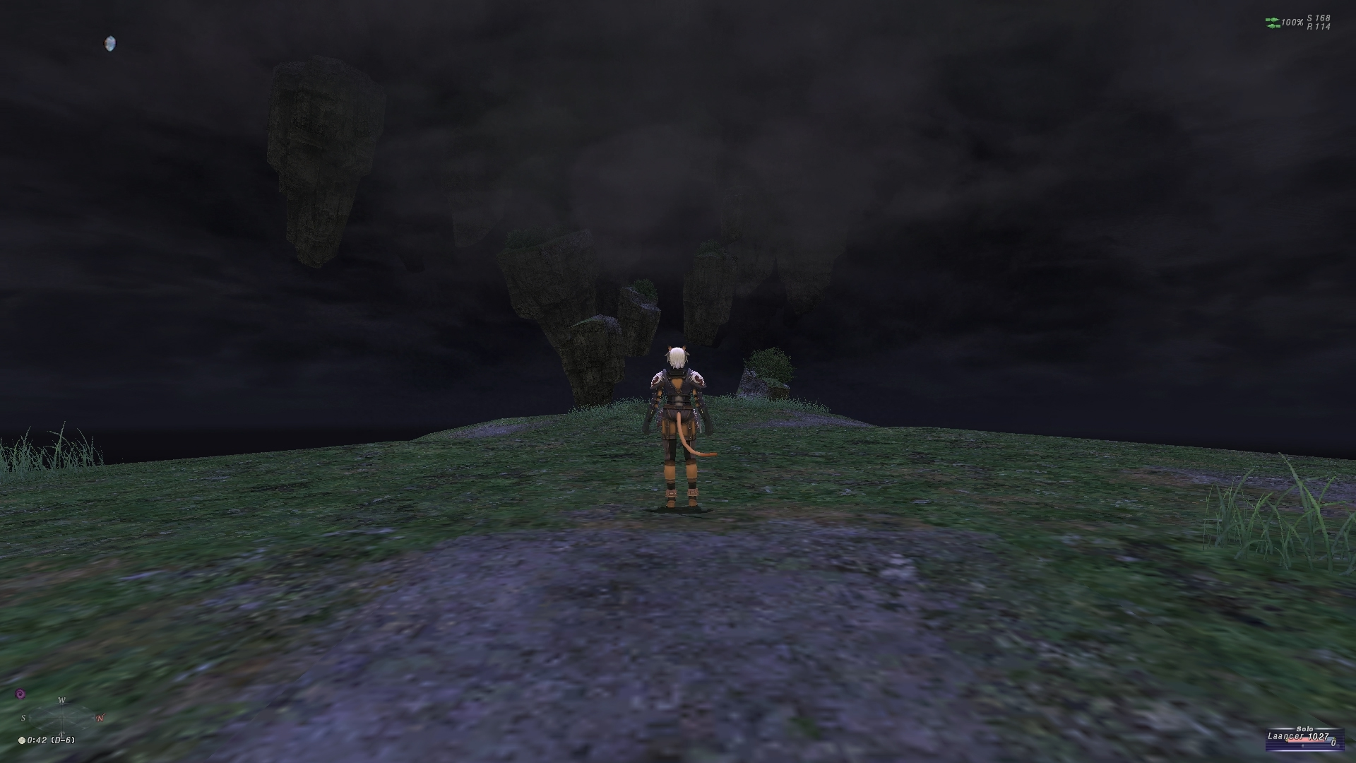 videogame avatar stands with back to camera. Large blocks of earth float above the ground and are obscured by fog.