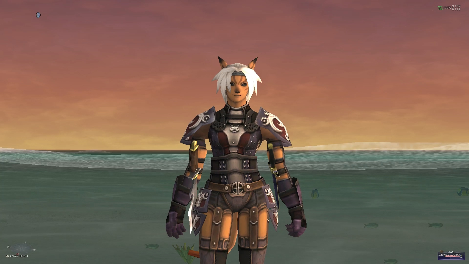 front-view of videogame character. the feminine avatar wears a mixture of leather armor with metal accents, and has white hair. The character stands on the shore of a beach with a sunrise in the background.