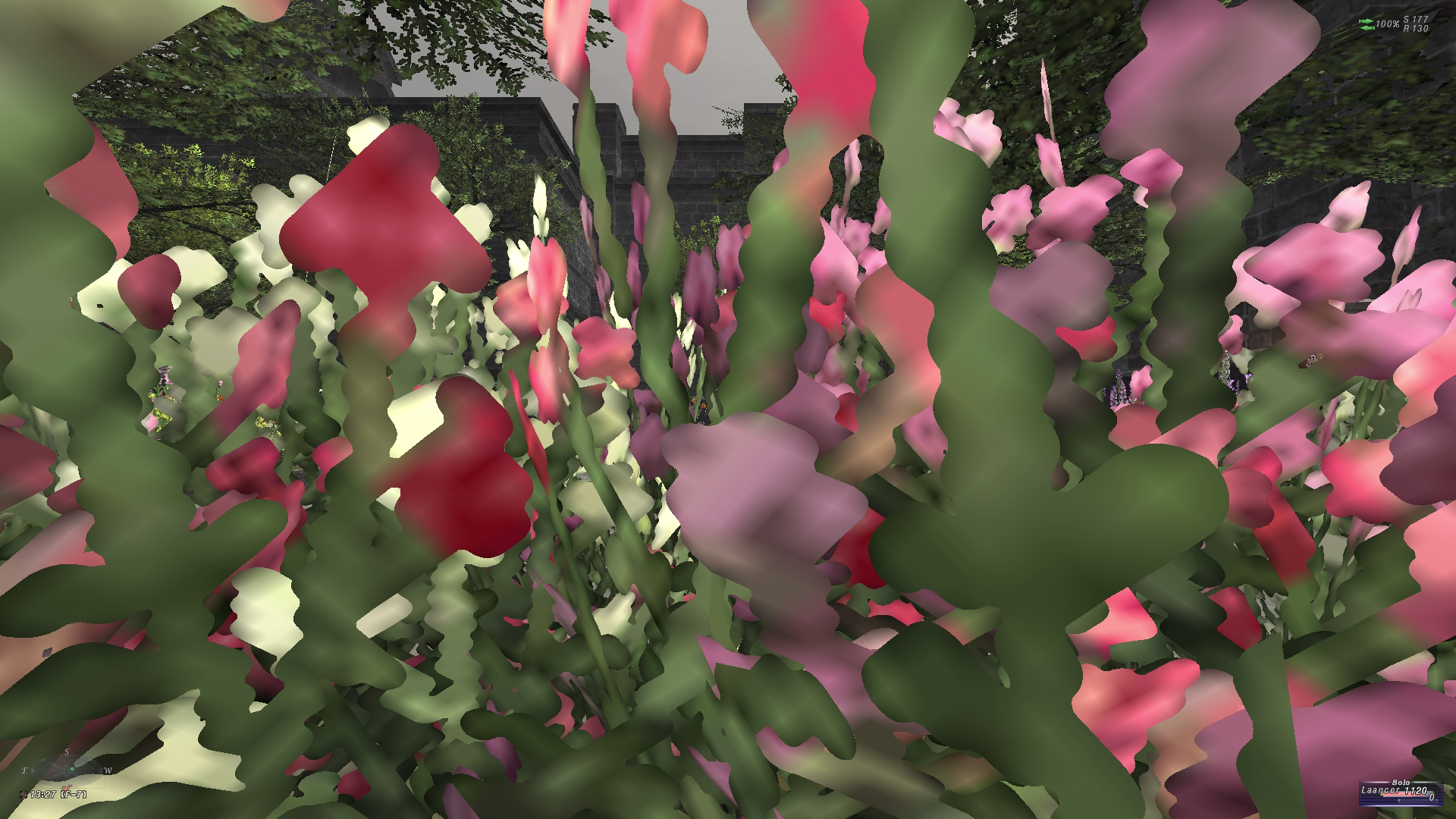 closeup of pixelated garden flowers in videogame.