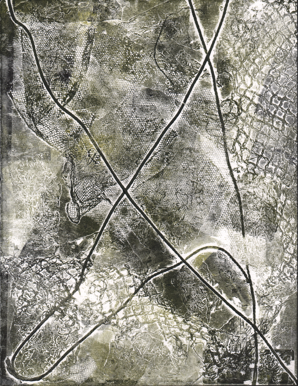scanned and digitally manipulated image of threads, textiles, and mesh.
