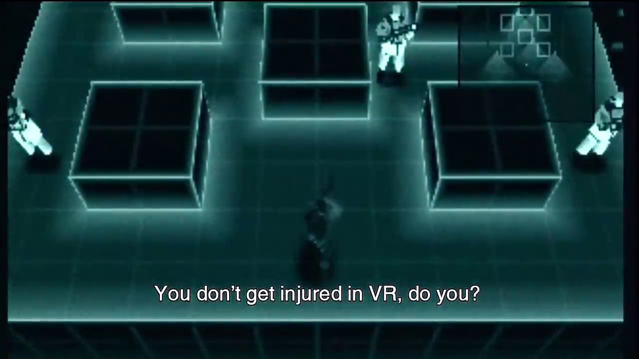 Plan oblique view of videogame gameplay. Subtitle text reads: 'You don't get injured in VR, do you?'