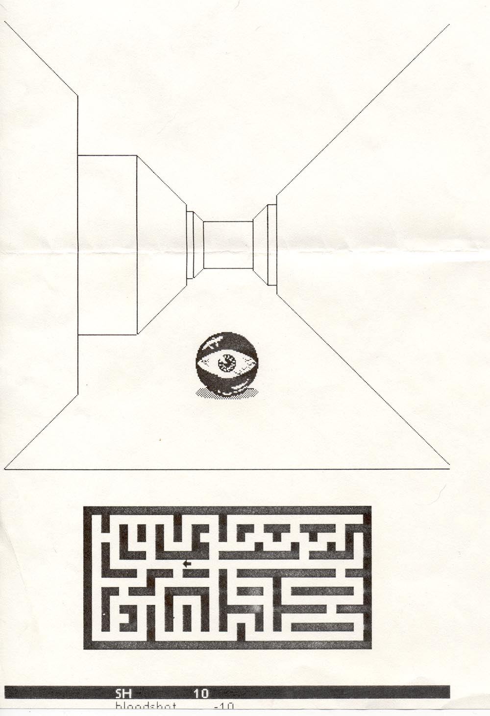a large demonic eyeball sits in a hallway rendered with one-point perspective. The bottom half of the page has a black and white plan-view of a maze with a small arrow in a hallway indicating the position of the player.