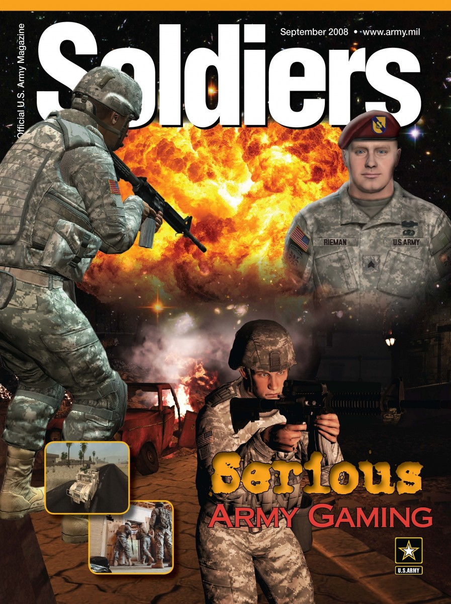 Three videogame figures on cover of videogame. One stands back to camera holding automatic machine gun, one stands forward towards camera with machine gun, and one stands toward camera without a gun. Text reads: 'Soldiers, Serious Army Gaming.'