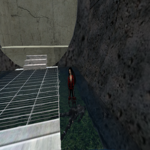 A videogame still of a woman in red standing over a body submerged in a stream.
