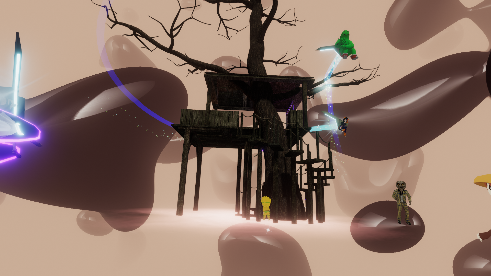 brown blobs in the background. A treehouse punctured by a tree is centered. Different virtual avatars fly around the frame.
