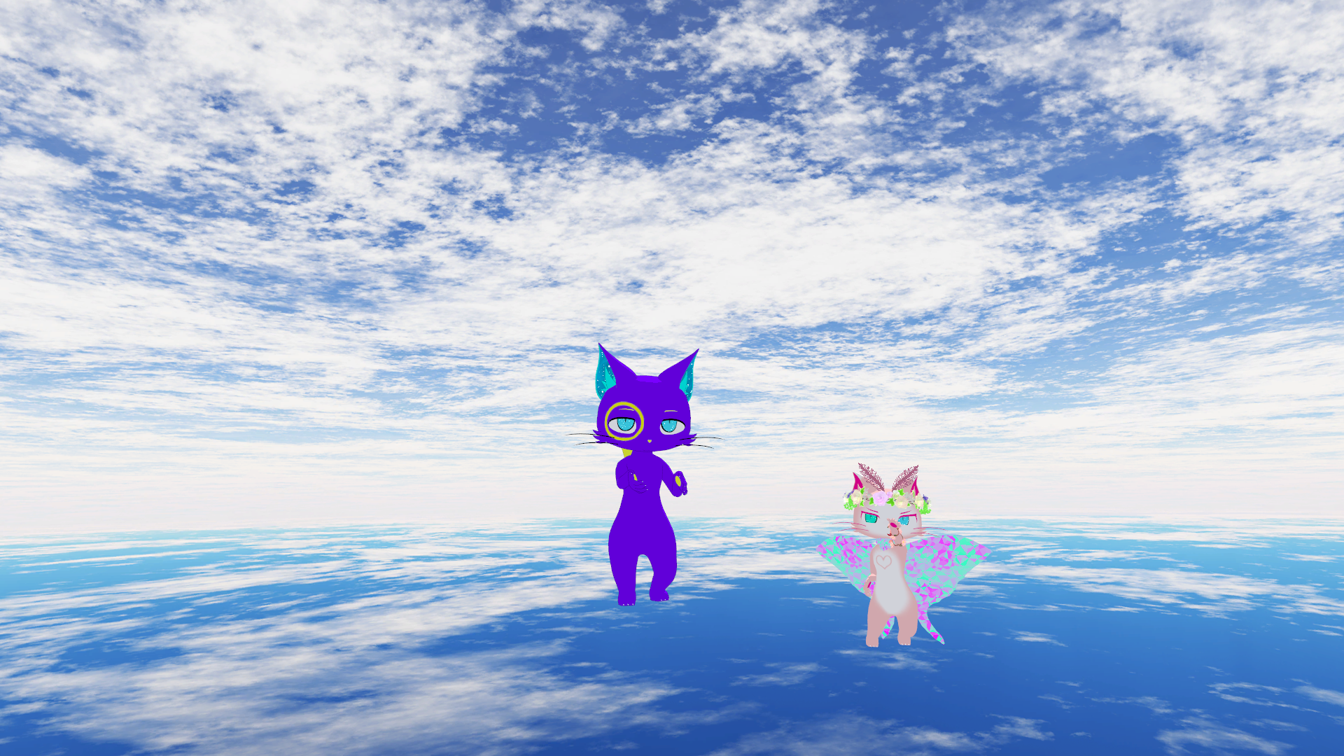 Two cats, one pink with wings and one purple with blue eyes float above ground with the sky above.