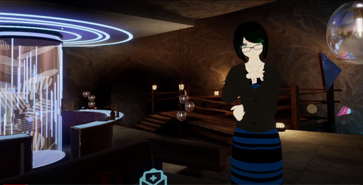 a digital avatar wearing a blue-and-black-striped dress stares into the camera