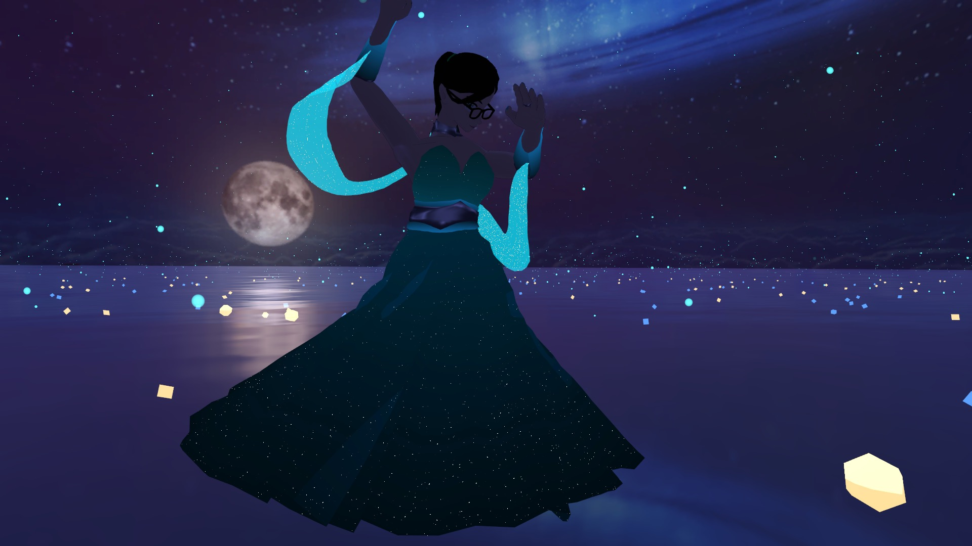 a digital avatar wearing a flowy green dress with cyan arm-tassels dances in front of of the moon in the background.