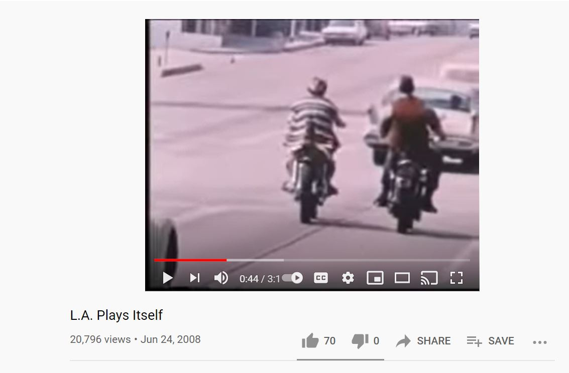 YouTube Screenshot of L.A. Plays Itself. 20,796 views; posted on June 24th, 2008.